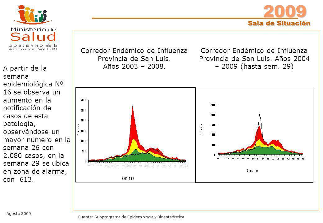 2009 Sala de Situación Agosto 2009 Fuente: Subprograma de Epidemiología y Bioestadística Corredor Endémico de Influenza Provincia de San Luis.