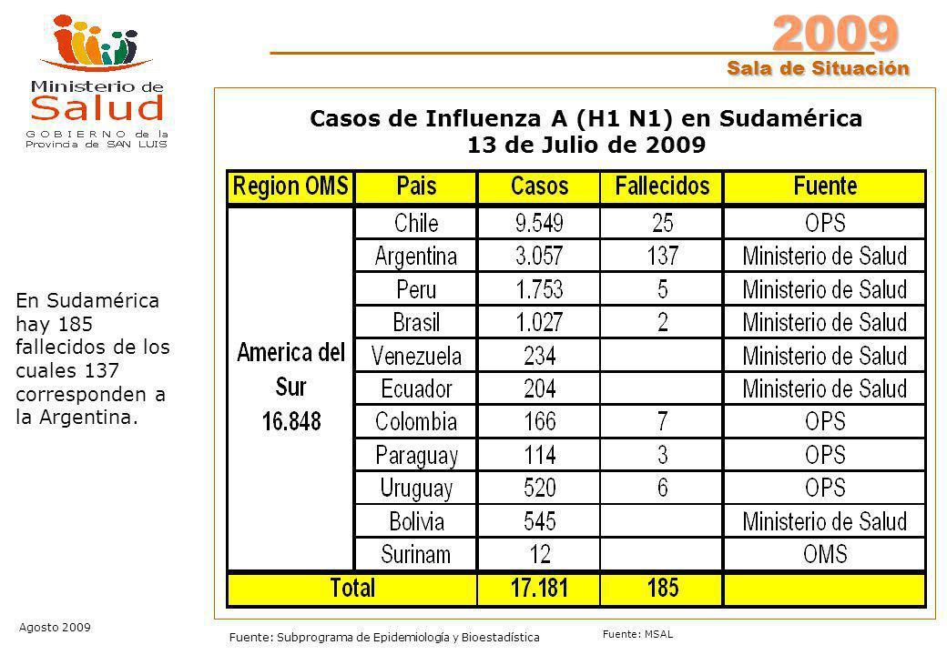 2009 Sala de Situación Agosto 2009 Fuente: Subprograma de Epidemiología y Bioestadística Fuente: MSAL Casos de Influenza A (H1 N1) en Sudamérica 13 de Julio de 2009 En Sudamérica hay 185 fallecidos de los cuales 137 corresponden a la Argentina.