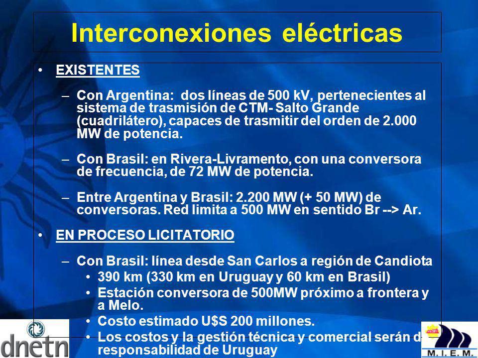Interconexiones eléctricas EXISTENTES –Con Argentina: dos líneas de 500 kV, pertenecientes al sistema de trasmisión de CTM- Salto Grande (cuadrilátero