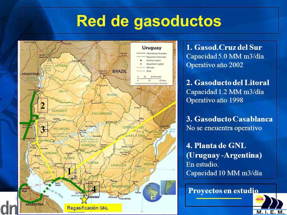 Red de gasoductos 1. Gasod.Cruz del Sur Capacidad 5.0 MM m3/día Operativo año 2002 2. Gasoducto del Litoral Capacidad 1.2 MM m3/día Operativo año 1998