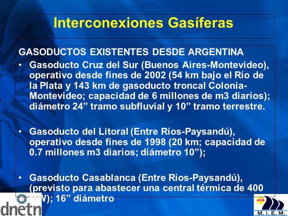 Interconexiones Gasíferas GASODUCTOS EXISTENTES DESDE ARGENTINA Gasoducto Cruz del Sur (Buenos Aires-Montevideo), operativo desde fines de 2002 (54 km