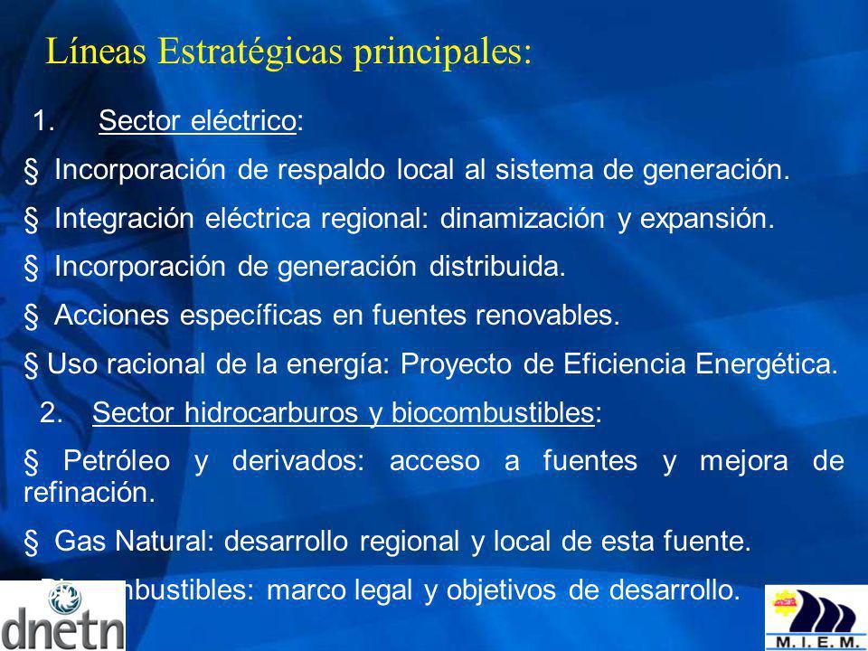 Líneas Estratégicas principales: 1. Sector eléctrico: Incorporación de respaldo local al sistema de generación. Integración eléctrica regional: dinami