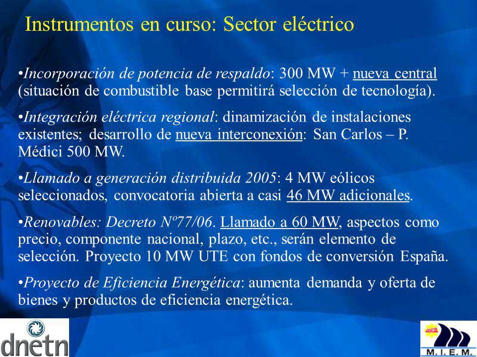 Instrumentos en curso: Sector eléctrico Incorporación de potencia de respaldo: 300 MW + nueva central (situación de combustible base permitirá selecci