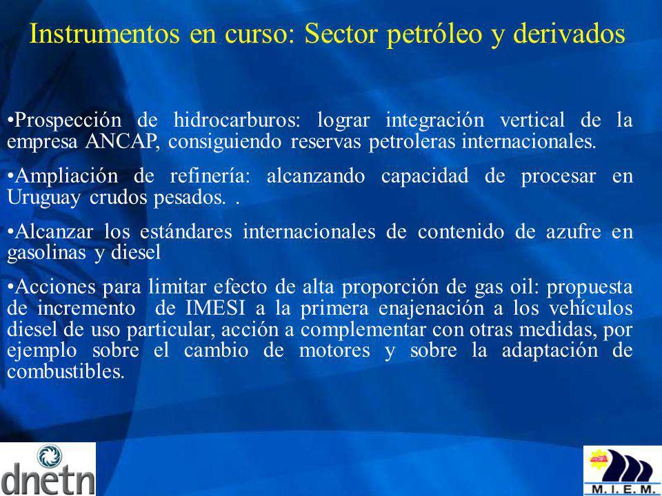 Instrumentos en curso: Sector petróleo y derivados Prospección de hidrocarburos: lograr integración vertical de la empresa ANCAP, consiguiendo reserva