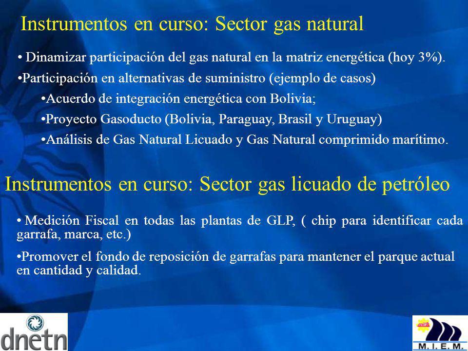 Instrumentos en curso: Sector gas natural Dinamizar participación del gas natural en la matriz energética (hoy 3%). Participación en alternativas de s