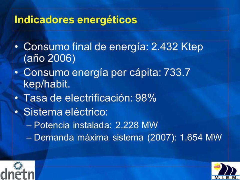 Indicadores energéticos Consumo final de energía: 2.432 Ktep (año 2006) Consumo energía per cápita: 733.7 kep/habit. Tasa de electrificación: 98% Sist