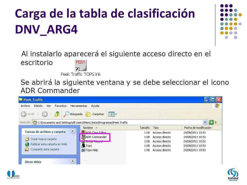 Carga de la tabla de clasificación DNV_ARG4 Al instalarlo aparecerá el siguiente acceso directo en el escritorio Se abrirá la siguiente ventana y se d