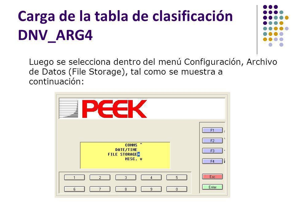 Carga de la tabla de clasificación DNV_ARG4 Luego se selecciona dentro del menú Configuración, Archivo de Datos (File Storage), tal como se muestra a