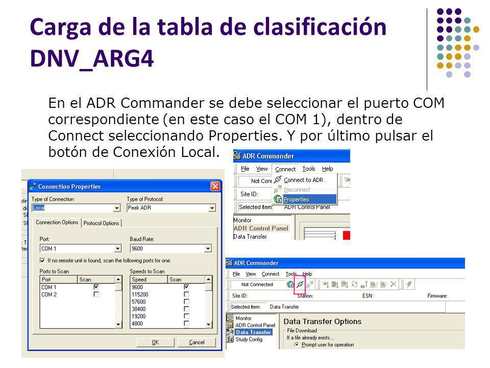 Carga de la tabla de clasificación DNV_ARG4 En el ADR Commander se debe seleccionar el puerto COM correspondiente (en este caso el COM 1), dentro de C
