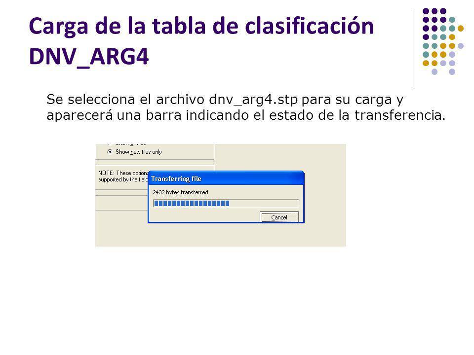 Carga de la tabla de clasificación DNV_ARG4 Se selecciona el archivo dnv_arg4.stp para su carga y aparecerá una barra indicando el estado de la transf