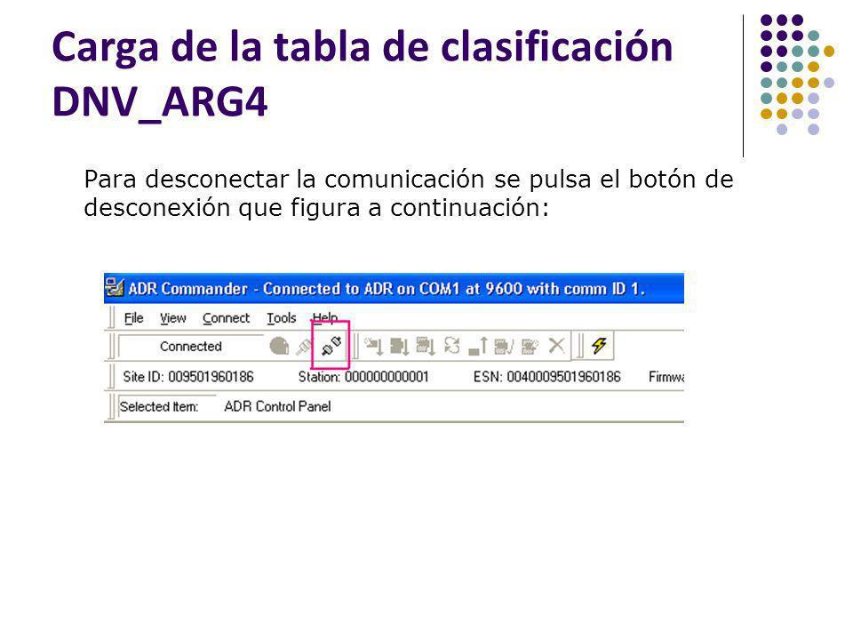 Carga de la tabla de clasificación DNV_ARG4 Para desconectar la comunicación se pulsa el botón de desconexión que figura a continuación: