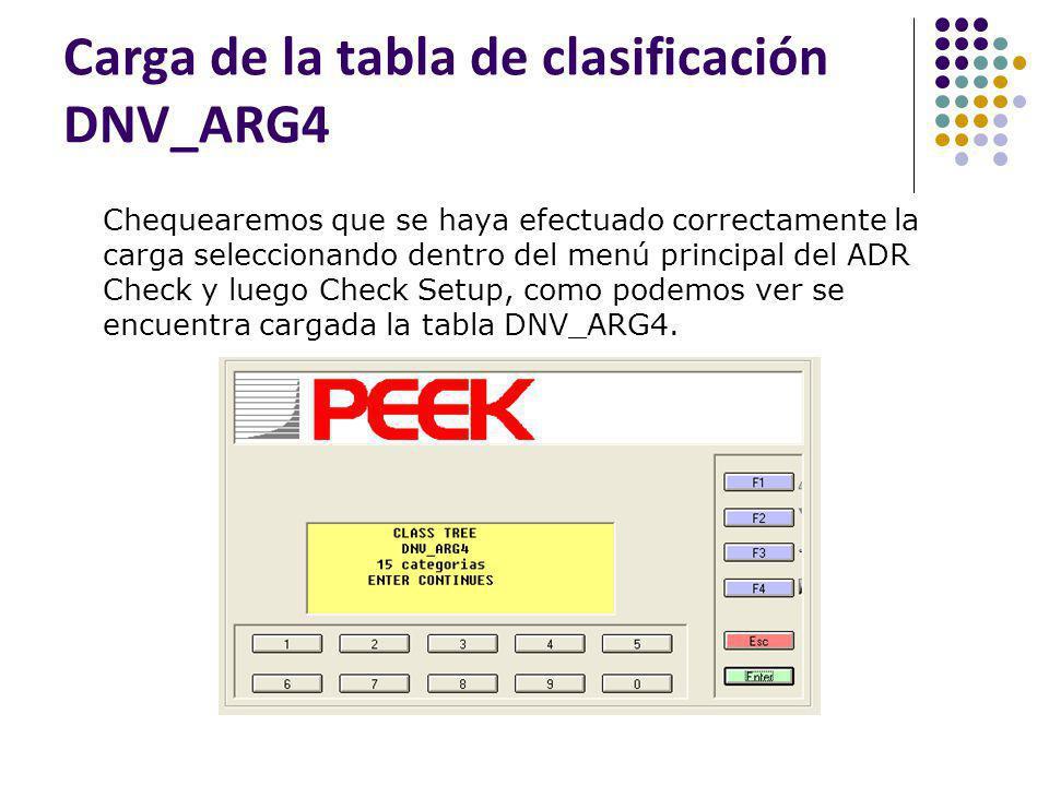 Carga de la tabla de clasificación DNV_ARG4 Chequearemos que se haya efectuado correctamente la carga seleccionando dentro del menú principal del ADR