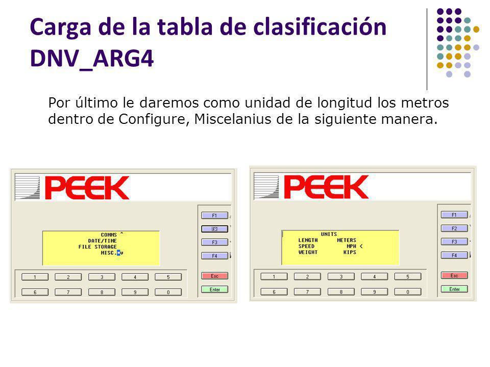 Carga de la tabla de clasificación DNV_ARG4 Por último le daremos como unidad de longitud los metros dentro de Configure, Miscelanius de la siguiente