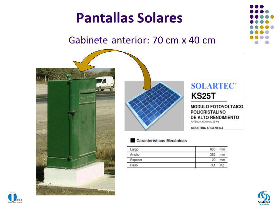 Pantallas Solares Gabinete anterior: 70 cm x 40 cm