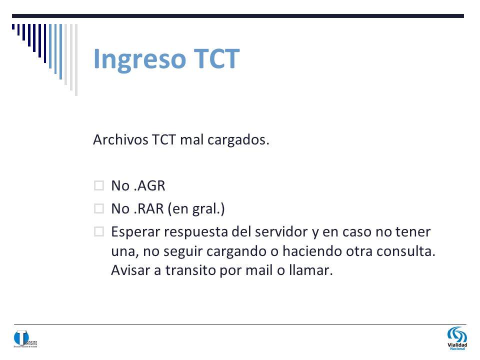Archivos TCT mal cargados.