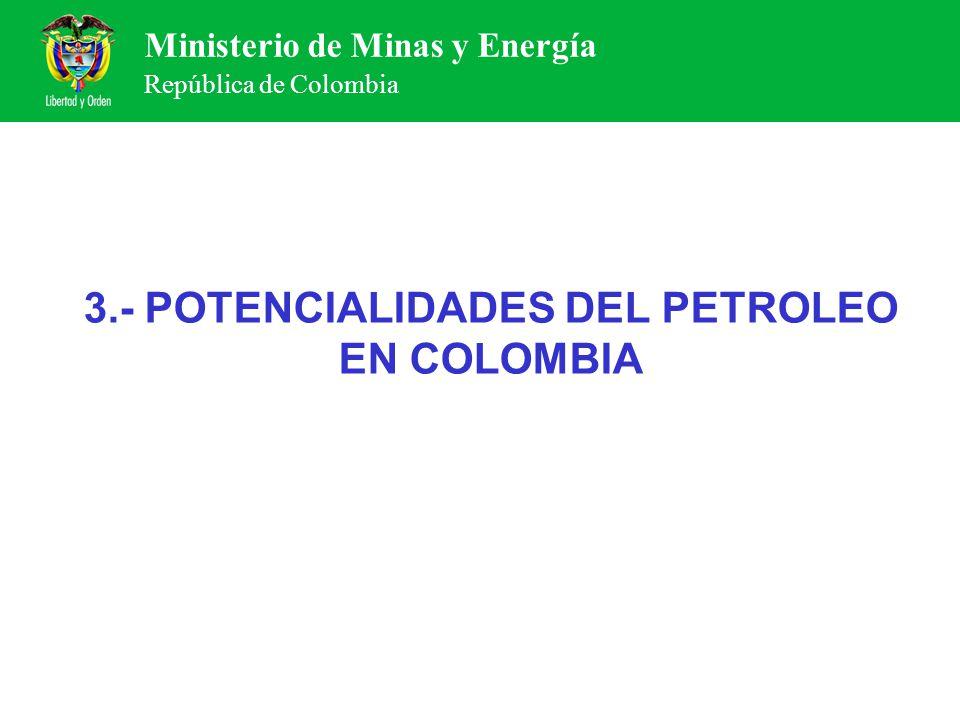 Ministerio de Minas y Energía República de Colombia 3.- POTENCIALIDADES DEL PETROLEO EN COLOMBIA