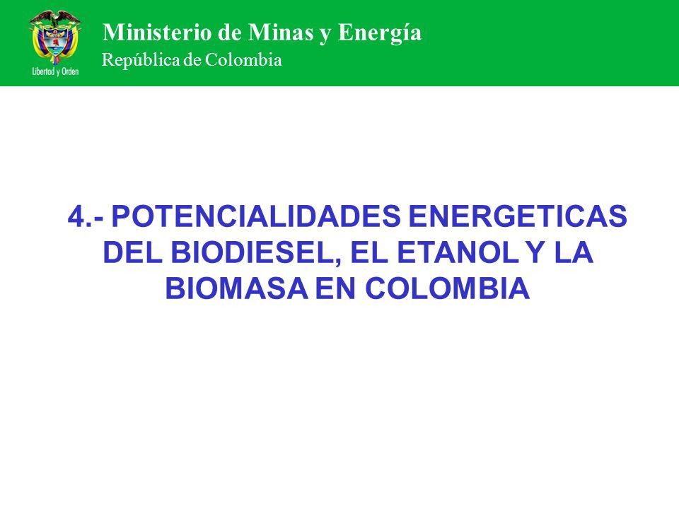 Ministerio de Minas y Energía República de Colombia 4.- POTENCIALIDADES ENERGETICAS DEL BIODIESEL, EL ETANOL Y LA BIOMASA EN COLOMBIA