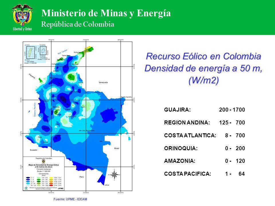 Ministerio de Minas y Energía República de Colombia Recurso Eólico en Colombia Densidad de energía a 50 m, (W/m2) GUAJIRA:200 - 1700 REGION ANDINA:125