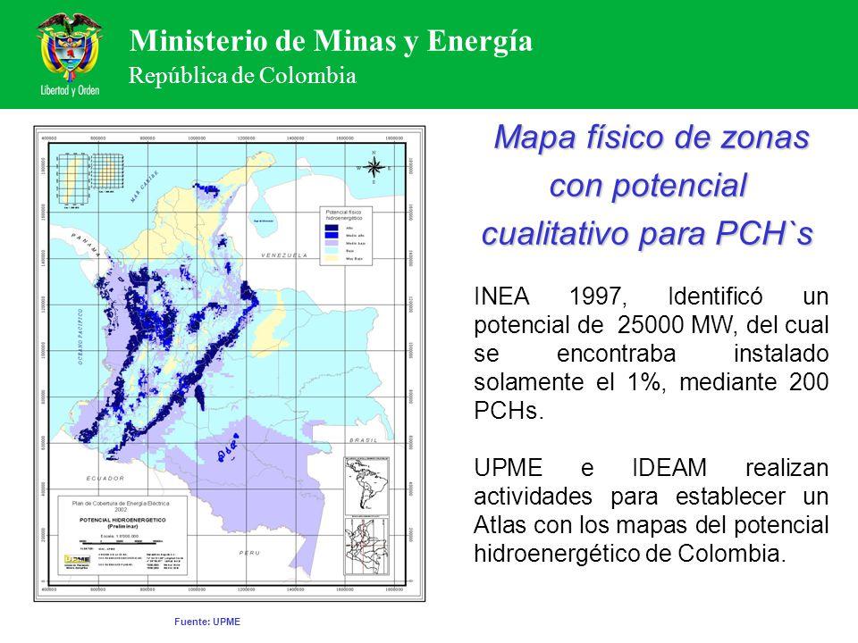 Ministerio de Minas y Energía República de Colombia INEA 1997, Identificó un potencial de 25000 MW, del cual se encontraba instalado solamente el 1%,