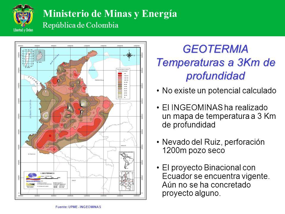 Ministerio de Minas y Energía República de Colombia GEOTERMIA Temperaturas a 3Km de profundidad No existe un potencial calculado El INGEOMINAS ha real