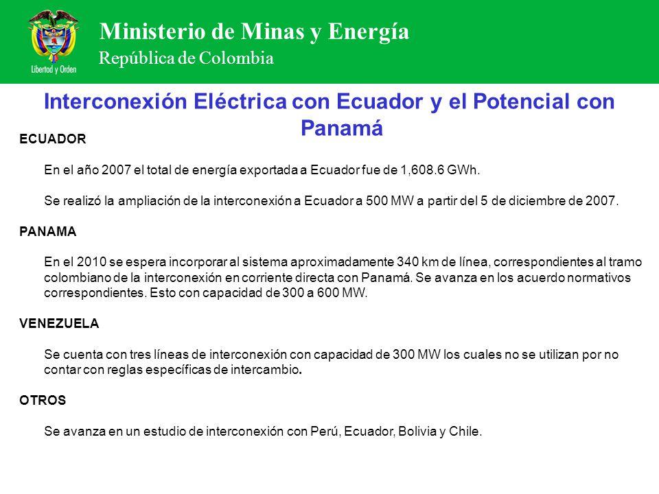 Ministerio de Minas y Energía República de Colombia Interconexión Eléctrica con Ecuador y el Potencial con Panamá ECUADOR En el año 2007 el total de e