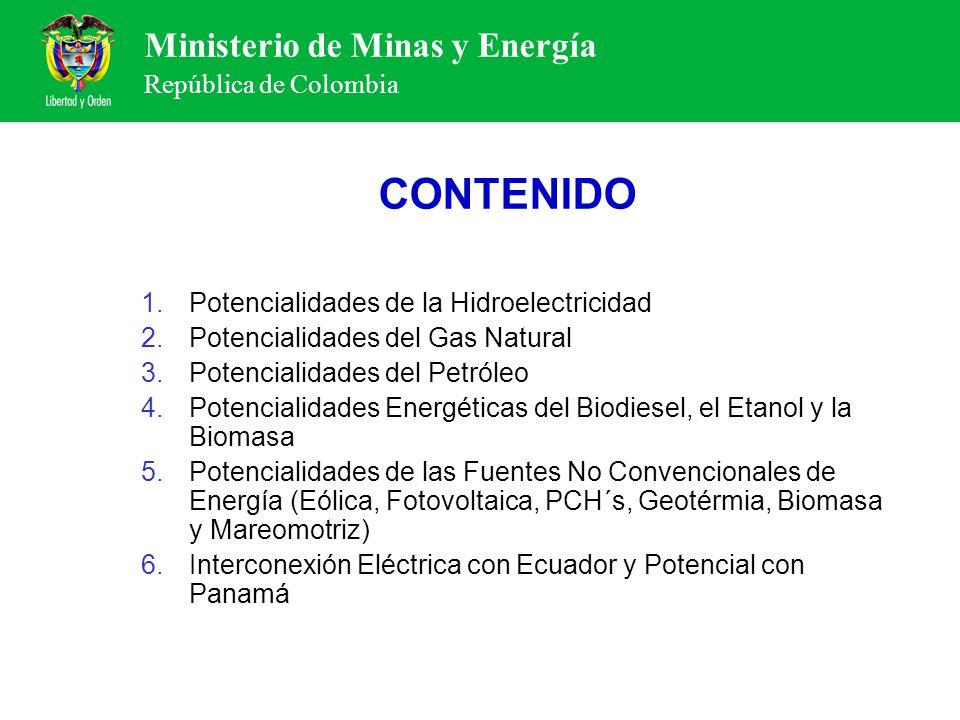 Ministerio de Minas y Energía República de Colombia CONTENIDO 1.Potencialidades de la Hidroelectricidad 2.Potencialidades del Gas Natural 3.Potenciali