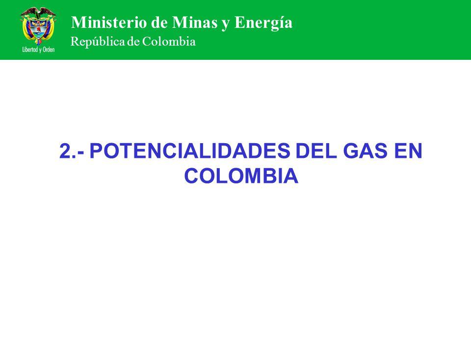 Ministerio de Minas y Energía República de Colombia 2.- POTENCIALIDADES DEL GAS EN COLOMBIA
