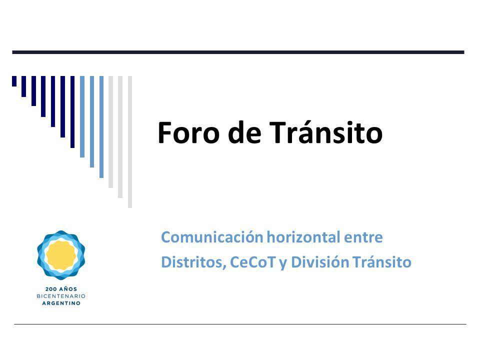 Foro de Tránsito Comunicación horizontal entre Distritos, CeCoT y División Tránsito