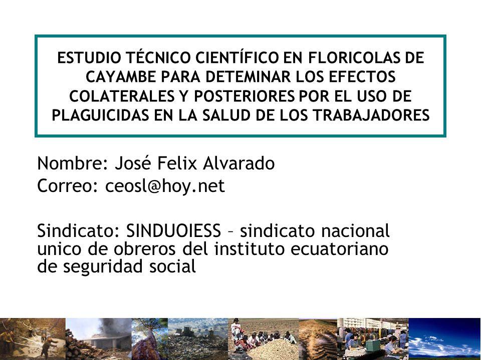 ESTUDIO TÉCNICO CIENTÍFICO EN FLORICOLAS DE CAYAMBE PARA DETEMINAR LOS EFECTOS COLATERALES Y POSTERIORES POR EL USO DE PLAGUICIDAS EN LA SALUD DE LOS TRABAJADORES Nombre: José Felix Alvarado Correo: ceosl@hoy.net Sindicato: SINDUOIESS – sindicato nacional unico de obreros del instituto ecuatoriano de seguridad social