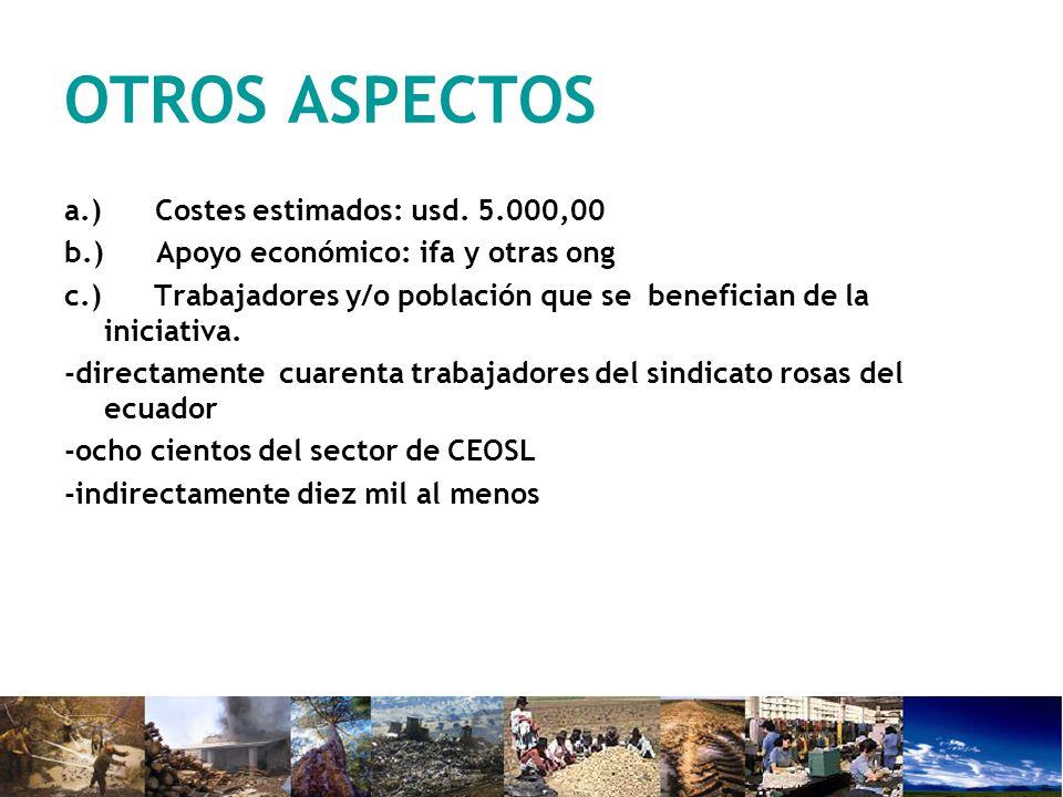 OTROS ASPECTOS a.) Costes estimados: usd.