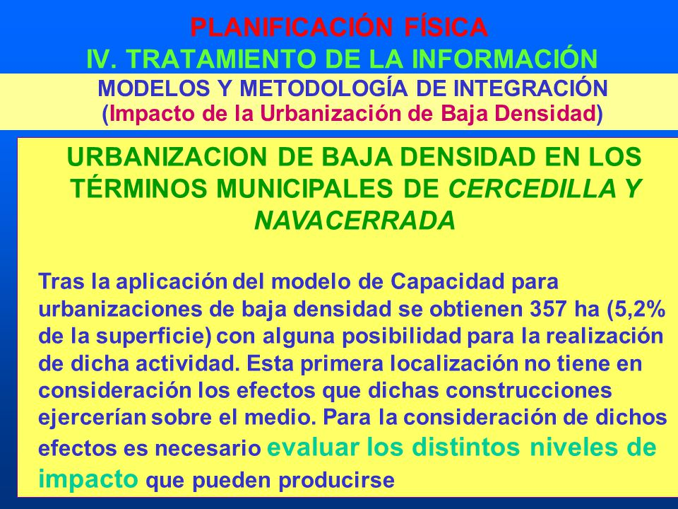 PLANIFICACIÓN FÍSICA IV. TRATAMIENTO DE LA INFORMACIÓN MODELOS Y METODOLOGÍA DE INTEGRACIÓN (Impacto de la Urbanización de Baja Densidad) URBANIZACION