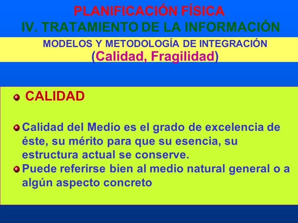 PLANIFICACIÓN FÍSICA IV. TRATAMIENTO DE LA INFORMACIÓN MODELOS Y METODOLOGÍA DE INTEGRACIÓN (Calidad, Fragilidad) CALIDAD Calidad del Medio es el grad