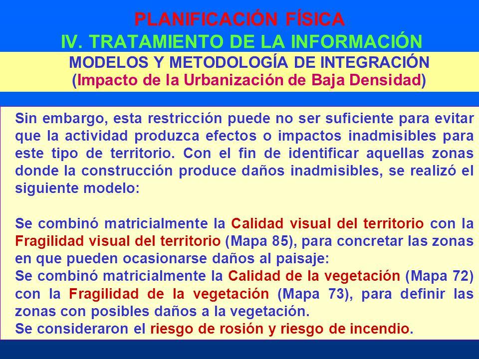 PLANIFICACIÓN FÍSICA IV. TRATAMIENTO DE LA INFORMACIÓN MODELOS Y METODOLOGÍA DE INTEGRACIÓN (Impacto de la Urbanización de Baja Densidad) Sin embargo,