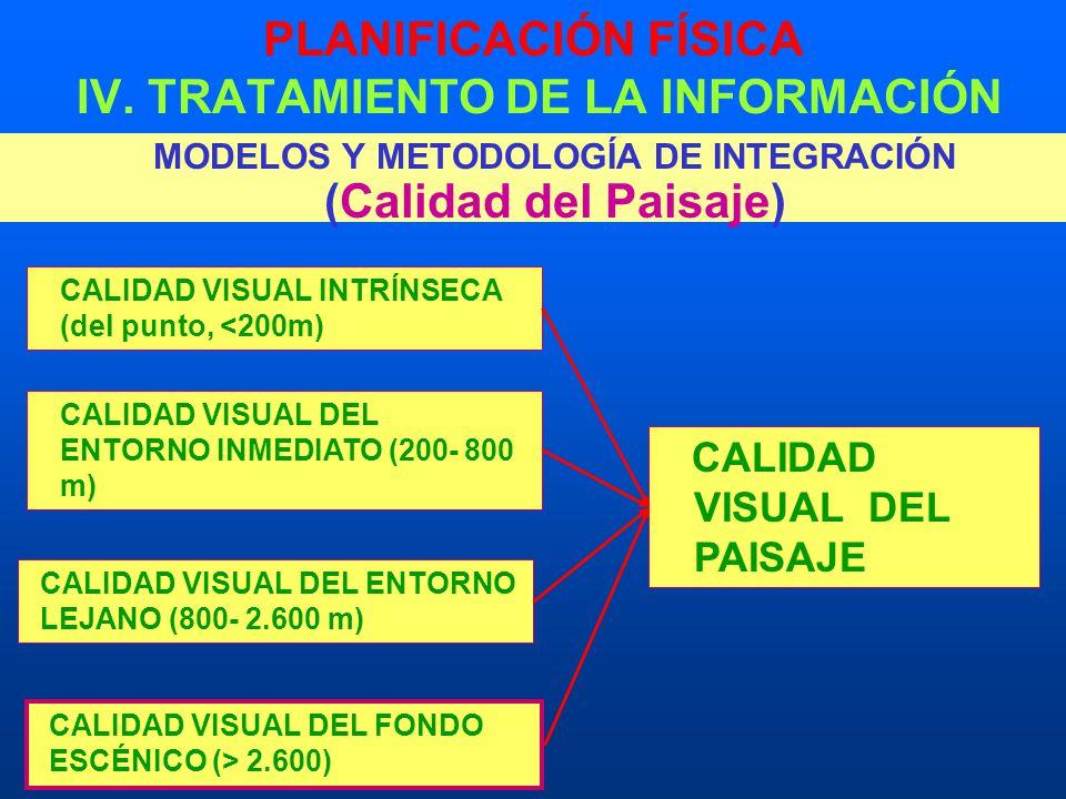 PLANIFICACIÓN FÍSICA IV. TRATAMIENTO DE LA INFORMACIÓN MODELOS Y METODOLOGÍA DE INTEGRACIÓN (Calidad del Paisaje) CALIDAD VISUAL INTRÍNSECA (del punto