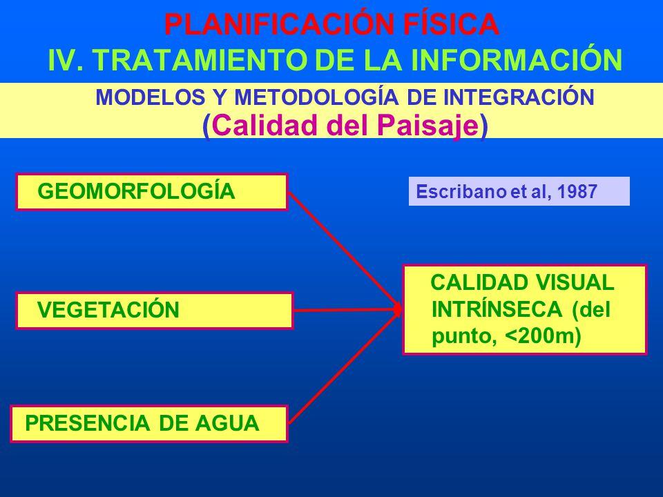 PLANIFICACIÓN FÍSICA IV. TRATAMIENTO DE LA INFORMACIÓN MODELOS Y METODOLOGÍA DE INTEGRACIÓN (Calidad del Paisaje) GEOMORFOLOGÍA VEGETACIÓN PRESENCIA D