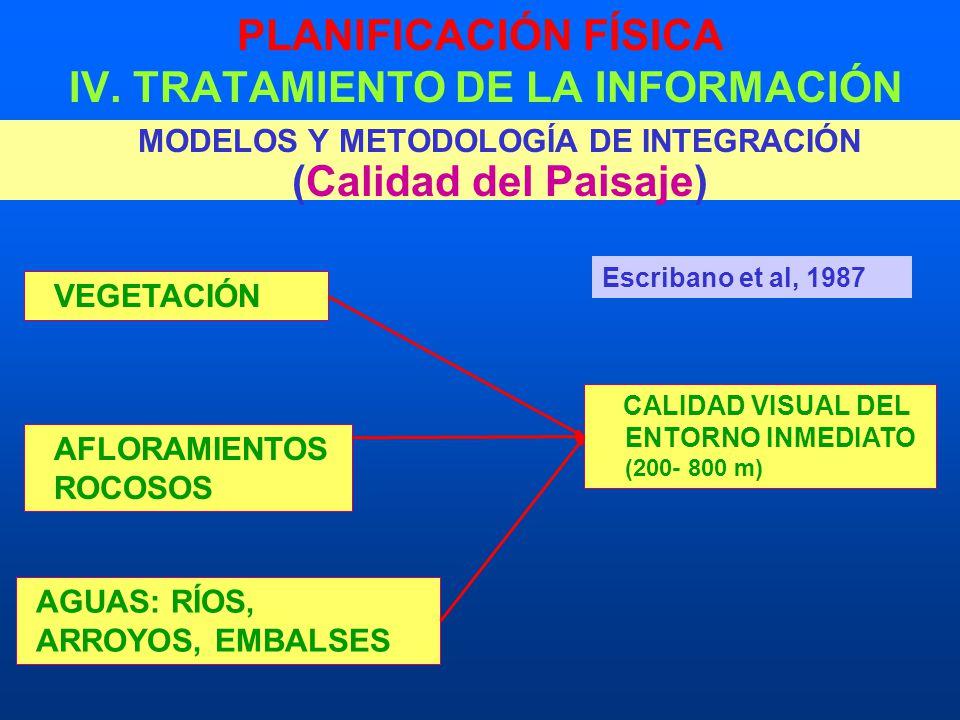 PLANIFICACIÓN FÍSICA IV. TRATAMIENTO DE LA INFORMACIÓN MODELOS Y METODOLOGÍA DE INTEGRACIÓN (Calidad del Paisaje) VEGETACIÓN AFLORAMIENTOS ROCOSOS AGU