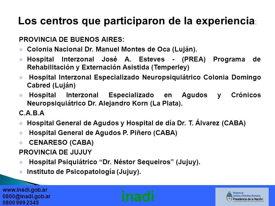 Los centros que participaron de la experiencia : PROVINCIA DE BUENOS AIRES: Colonia Nacional Dr.