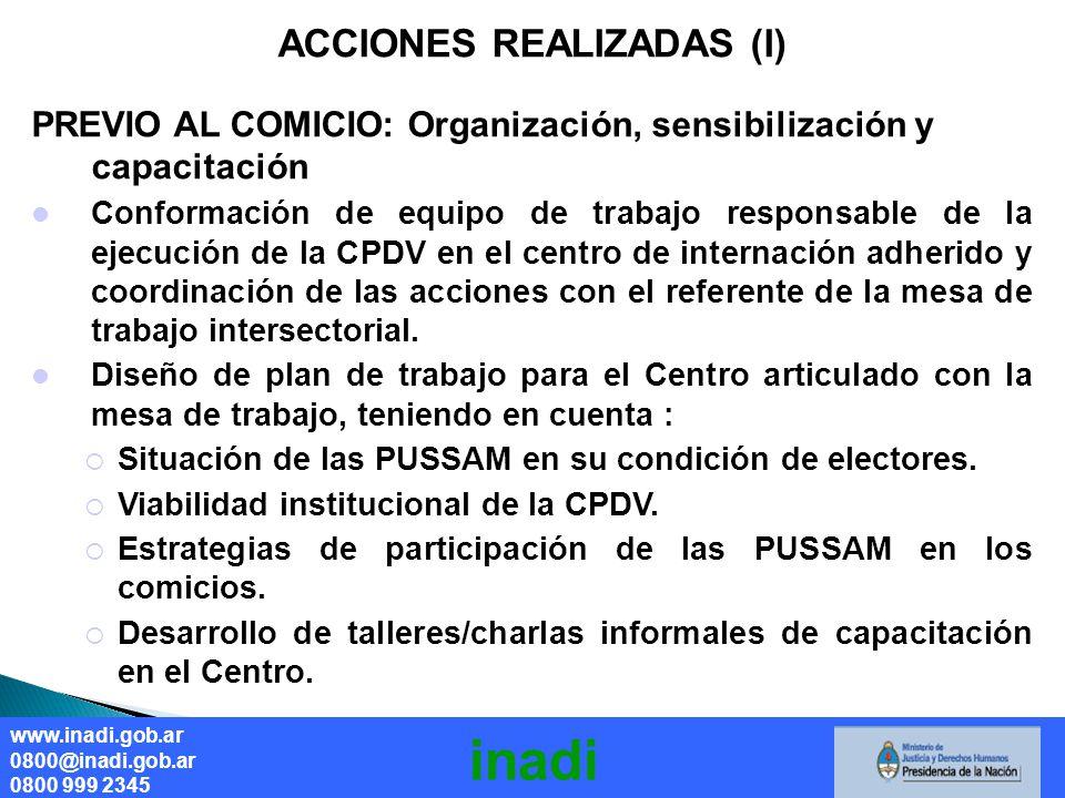ACCIONES REALIZADAS (I) PREVIO AL COMICIO: Organización, sensibilización y capacitación Conformación de equipo de trabajo responsable de la ejecución de la CPDV en el centro de internación adherido y coordinación de las acciones con el referente de la mesa de trabajo intersectorial.
