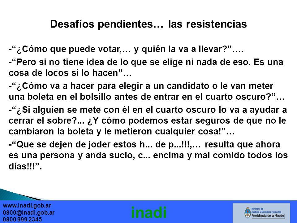 Desafíos pendientes… las resistencias -¿Cómo que puede votar,… y quién la va a llevar?….