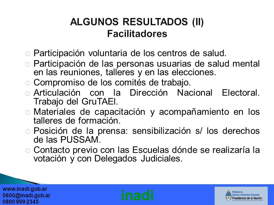 www.inadi.gob.ar 0800@inadi.gob.ar 0800 999 2345 inadi Participación voluntaria de los centros de salud.