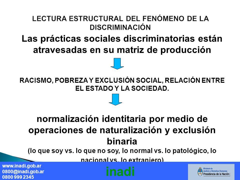 Las prácticas sociales discriminatorias están atravesadas en su matriz de producción RACISMO, POBREZA Y EXCLUSIÓN SOCIAL, RELACIÓN ENTRE EL ESTADO Y LA SOCIEDAD.