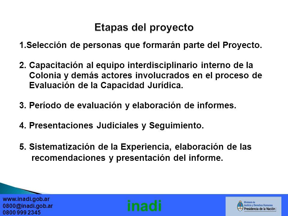 www.inadi.gob.ar 0800@inadi.gob.ar 0800 999 2345 inadi 1.Selección de personas que formarán parte del Proyecto.