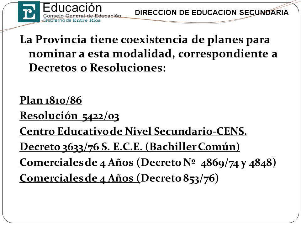 DIRECCION DE EDUCACION SECUNDARIA La Provincia tiene coexistencia de planes para nominar a esta modalidad, correspondiente a Decretos 0 Resoluciones: