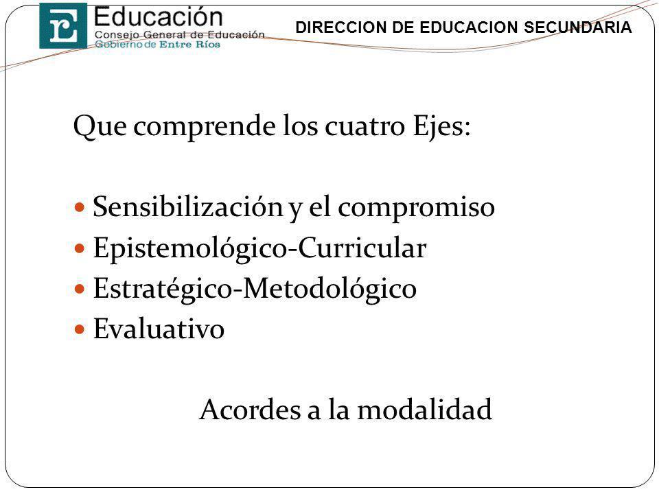 DIRECCION DE EDUCACION SECUNDARIA Que comprende los cuatro Ejes: Sensibilización y el compromiso Epistemológico-Curricular Estratégico-Metodológico Ev