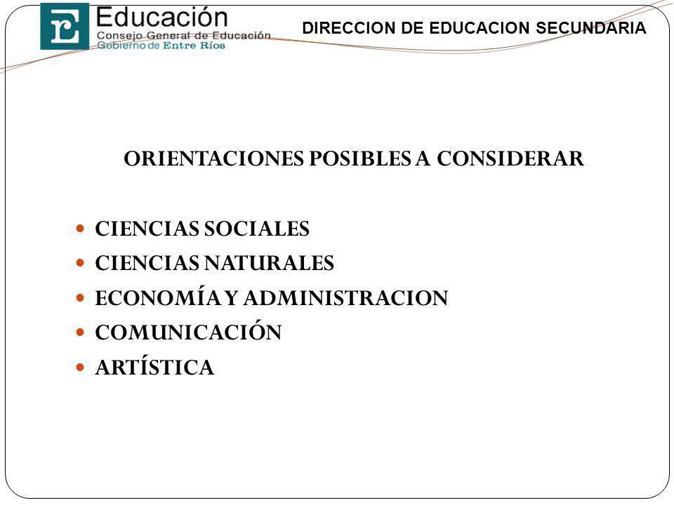 DIRECCION DE EDUCACION SECUNDARIA ORIENTACIONES POSIBLES A CONSIDERAR CIENCIAS SOCIALES CIENCIAS NATURALES ECONOMÍA Y ADMINISTRACION COMUNICACIÓN ARTÍ