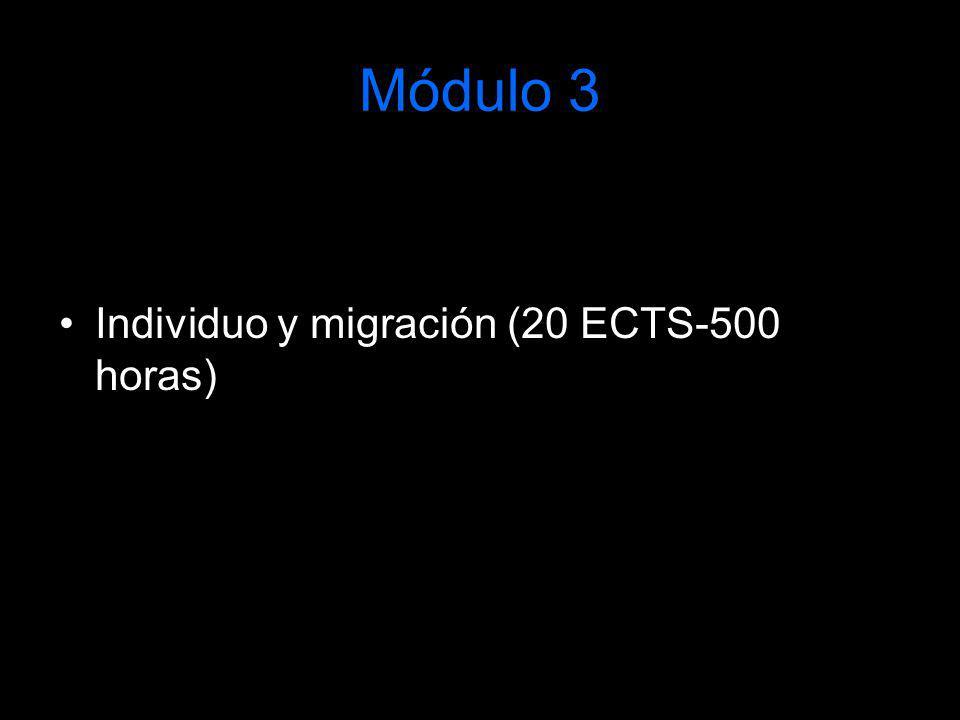 Módulo 3 Individuo y migración (20 ECTS-500 horas)