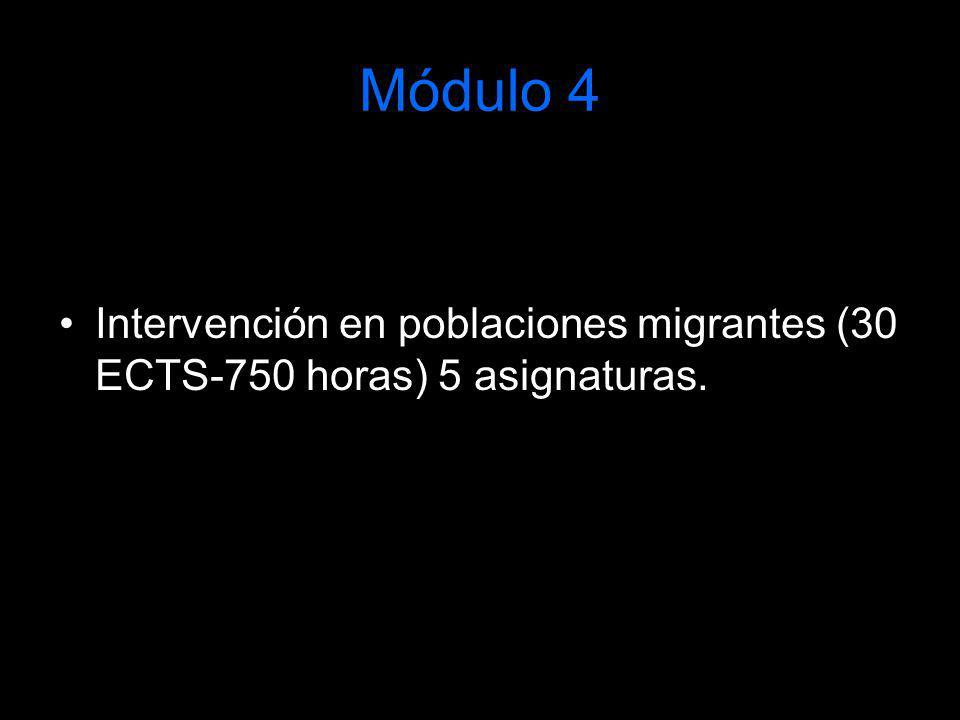 Módulo 4 Intervención en poblaciones migrantes (30 ECTS-750 horas) 5 asignaturas.