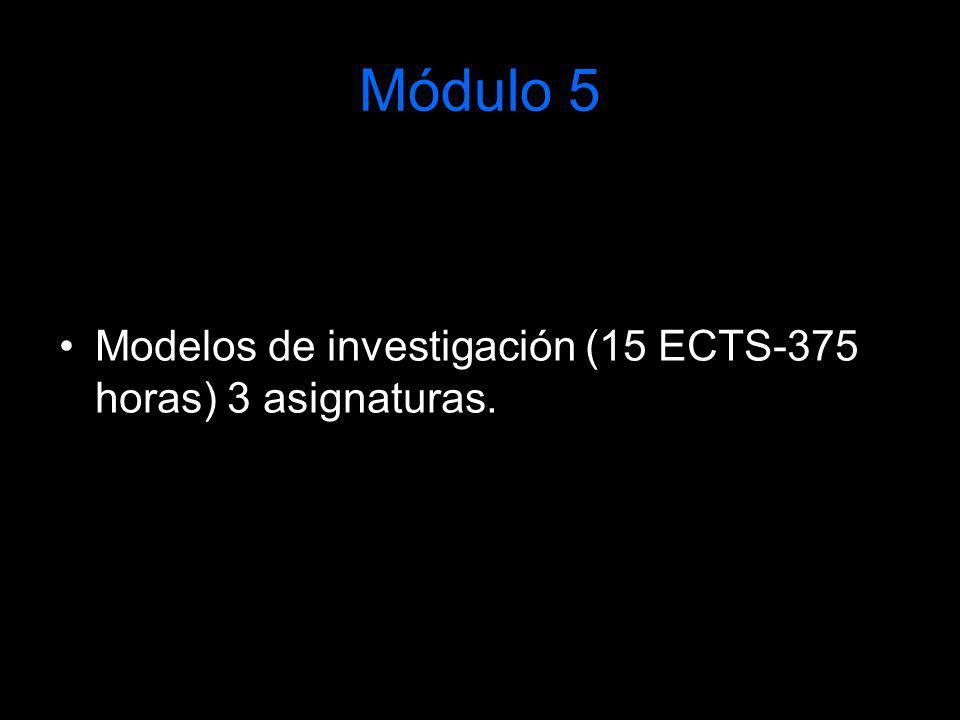 Módulo 5 Modelos de investigación (15 ECTS-375 horas) 3 asignaturas.