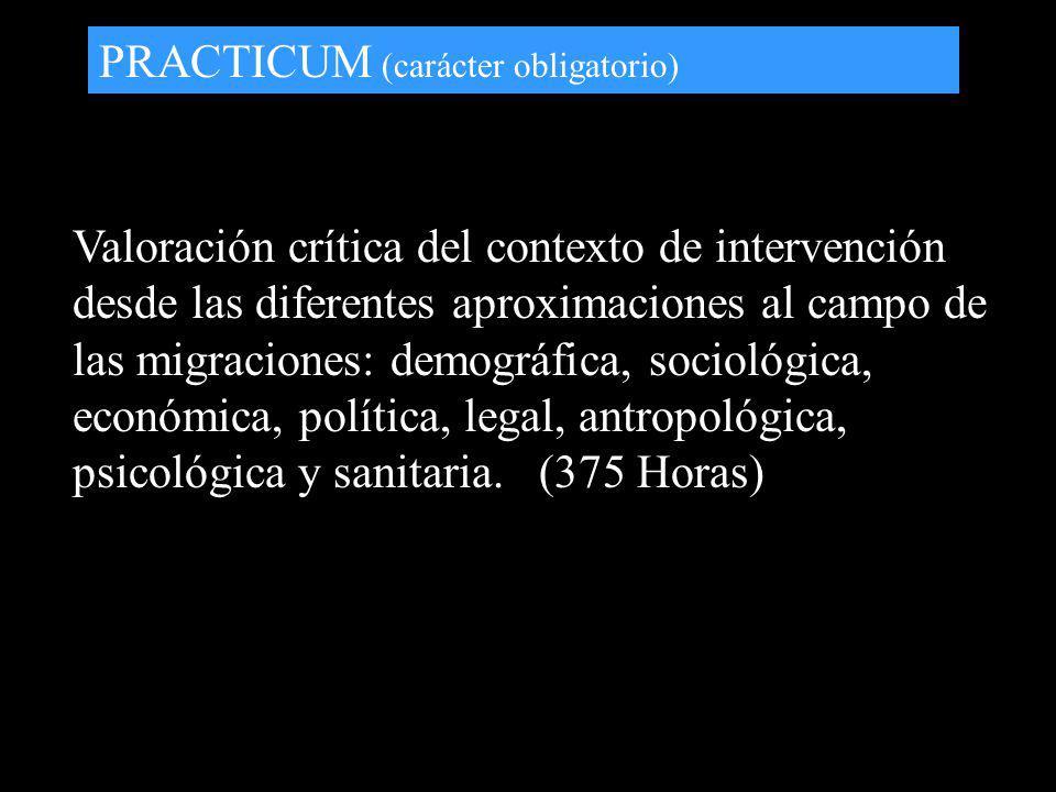 PRACTICUM (carácter obligatorio) Valoración crítica del contexto de intervención desde las diferentes aproximaciones al campo de las migraciones: demo