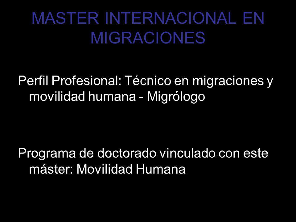 Estructura del MIM Duración: 2 cursos académicos, 60 ECTS cada año Master conformado por 120 ECTS distribuidos en 5 módulos: Módulo 1 Contexto de la emigración (25 ECTS-625 horas) Módulo 2 Cultura y migración (15 ECTS-375 horas) Módulo 3 Individuo y migración (20 ECTS-500 horas) Módulo 4 Intervención en poblaciones migrantes (30 ECTS-750 horas) Módulo 5 Modelos de investigación (15 ECTS-375 horas) Módulo 6 Prácticum y Trabajo fin de master (15 ECTS-375 horas)